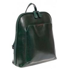 На фото 1 - Женский рюкзак из натуральной кожи, цвет зелёный