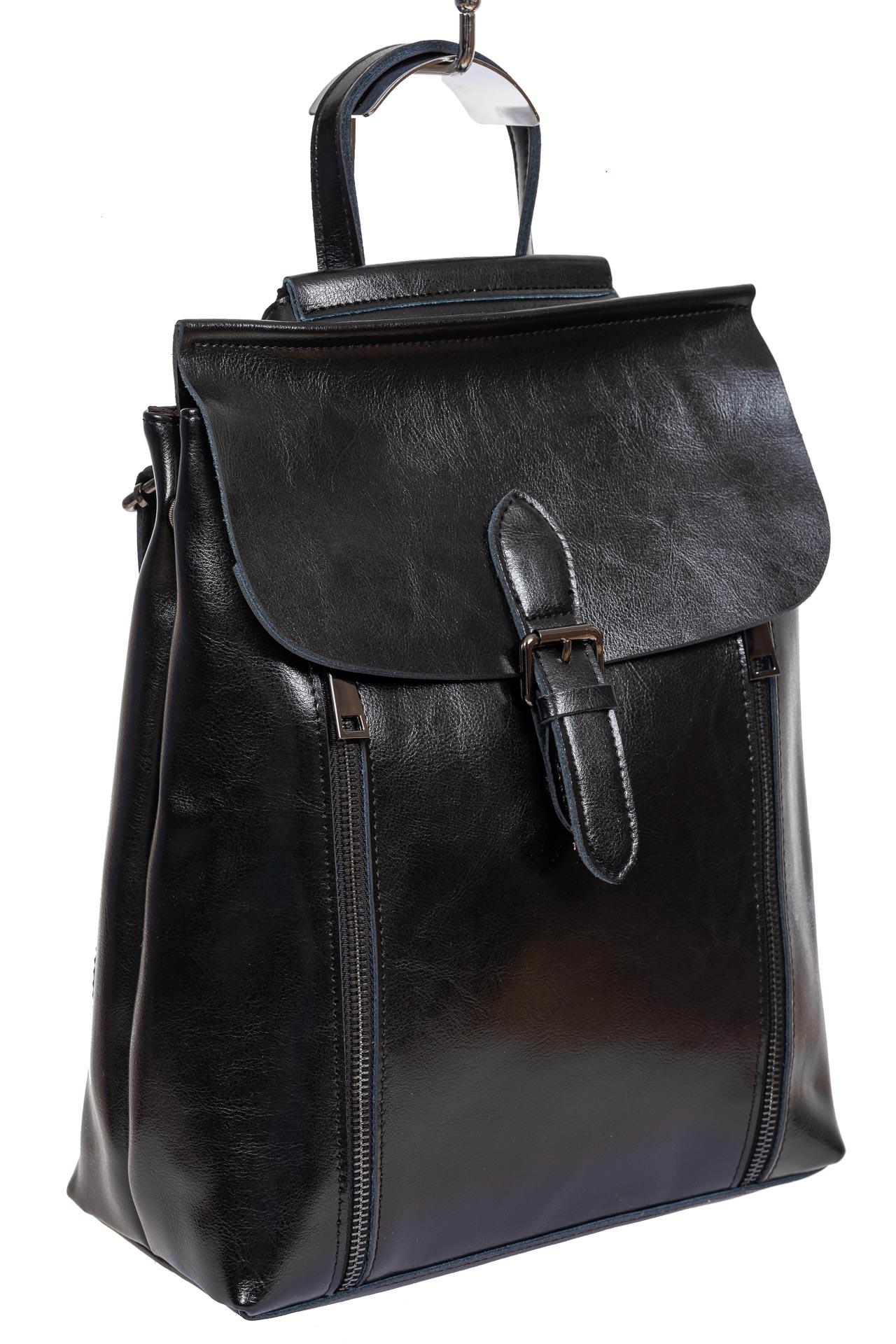 Кожаный рюкзак-трансформер, цвет чёрный