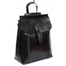 На фото 1 - Кожаный рюкзак-трансформер, цвет чёрный