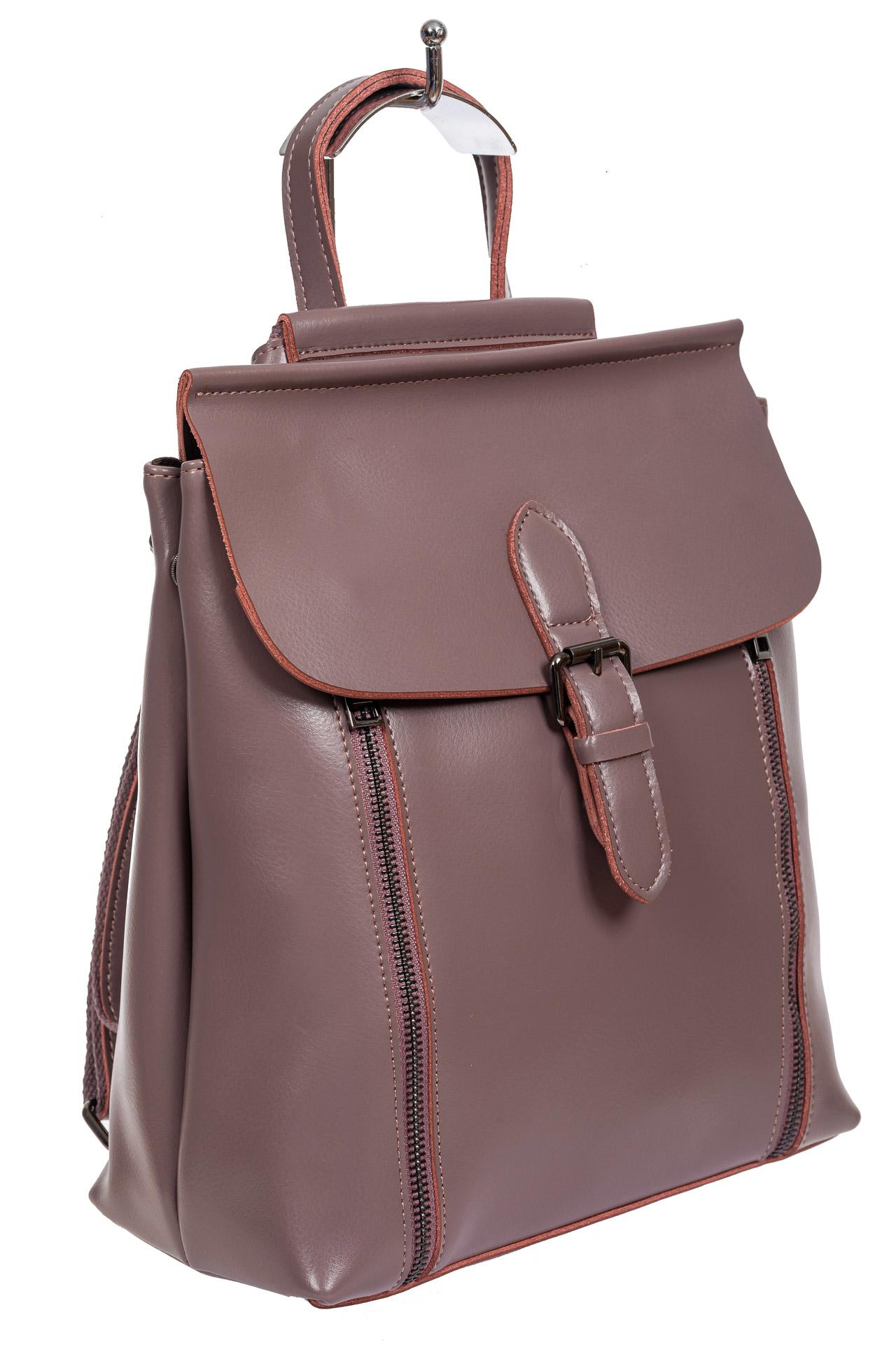Кожаный рюкзак-трансформер, цвет розово-сиреневый