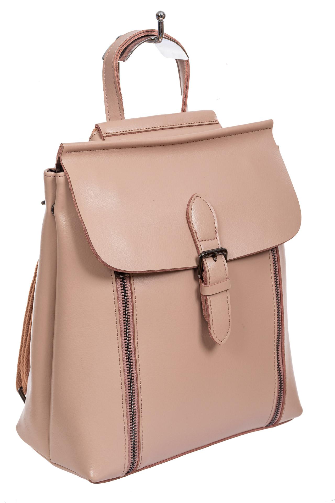 Кожаный рюкзак-трансформер, цвет пыльная роза
