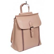 На фото 1 - Кожаный рюкзак-трансформер, цвет пыльная роза