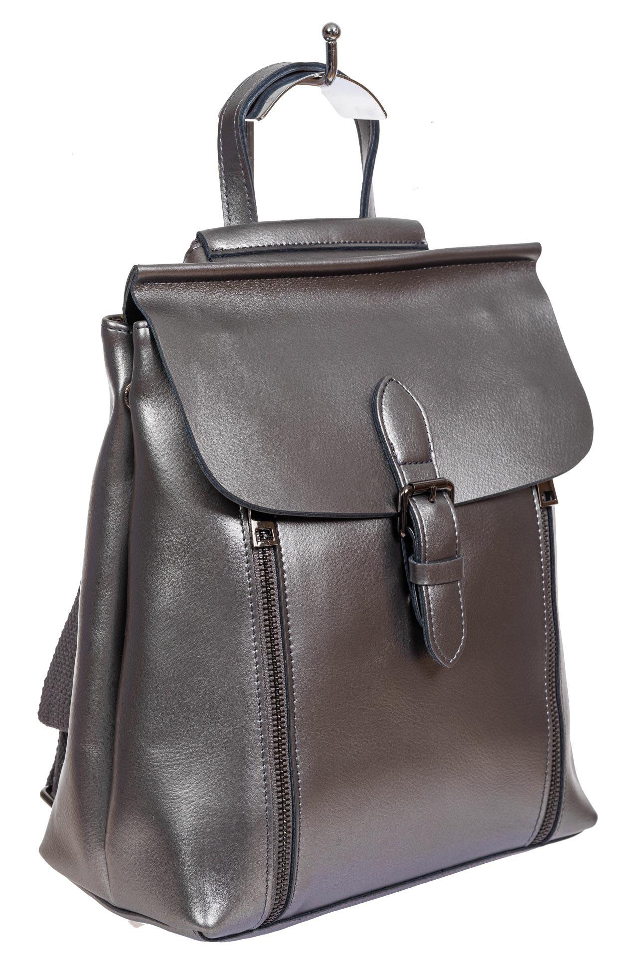 Кожаный рюкзак-трансформер, цвет серебристый