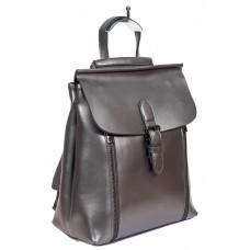 На фото 1 - Кожаный рюкзак-трансформер, цвет серебристый