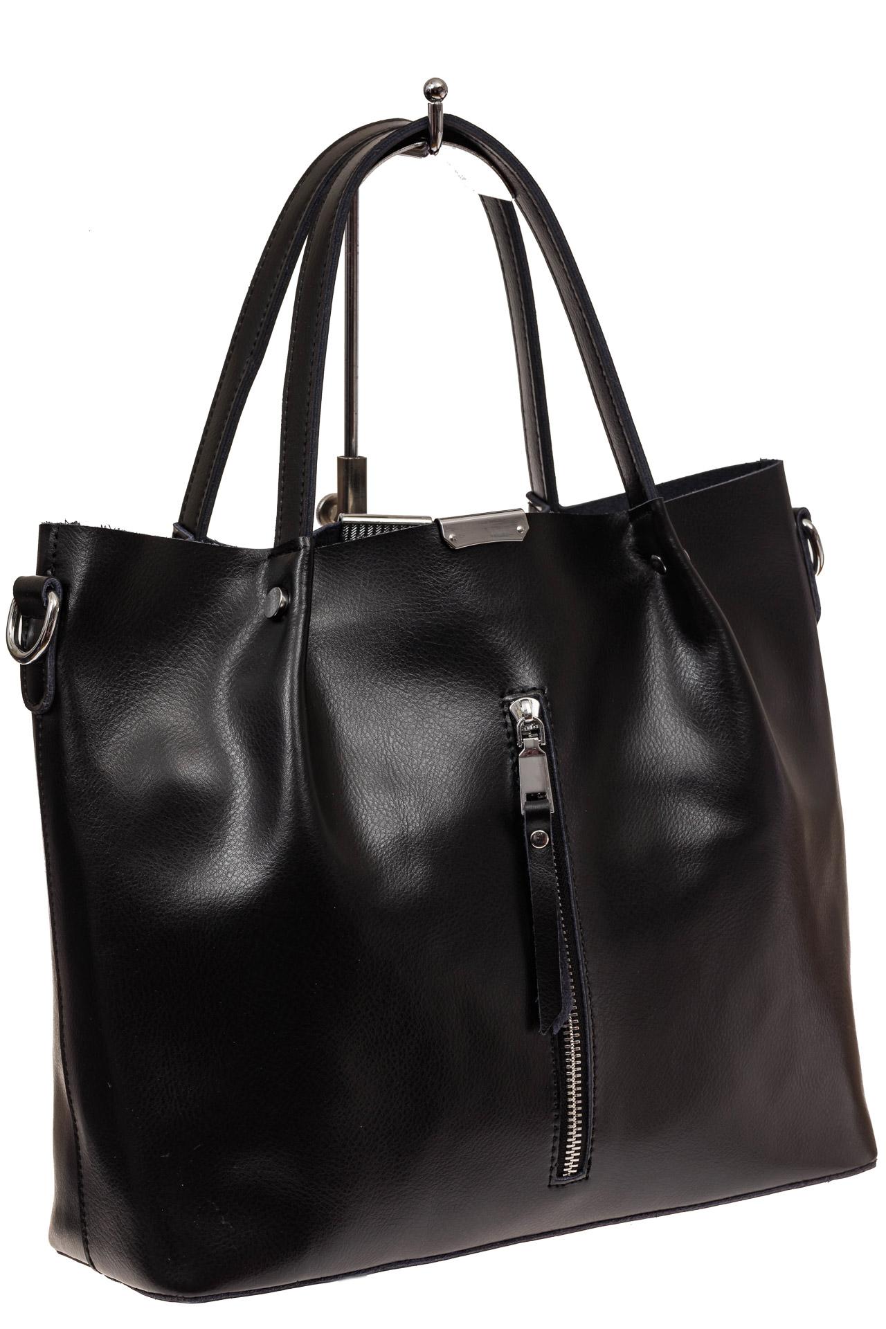 На фото 1 - Сумка шоппер из натуральной кожи, цвет черный