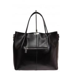 На фото 2 - Сумка шоппер из натуральной кожи, цвет черный