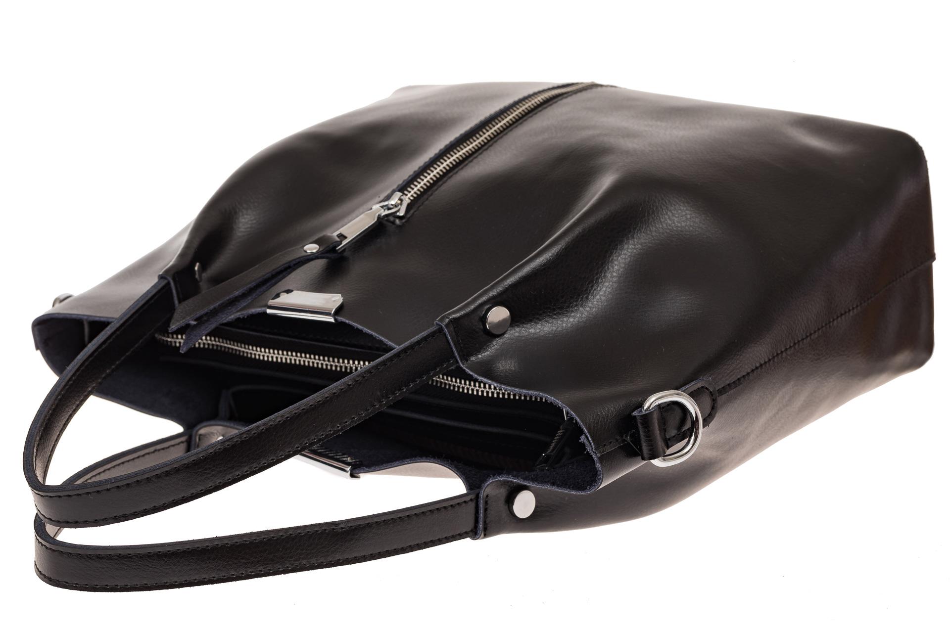 На фото 3 - Сумка шоппер из натуральной кожи, цвет черный