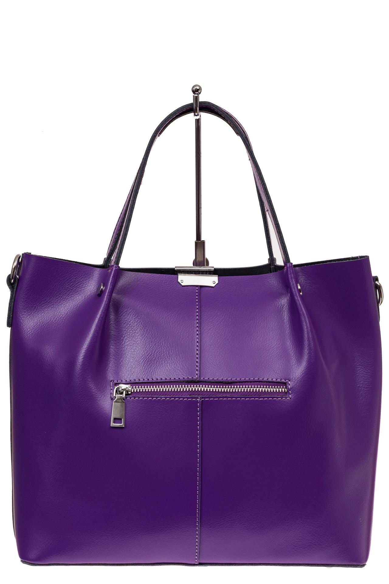 На фото 2 - Сумка шоппер из натуральной кожи, цвет фиолетовый