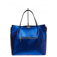 На фото 2 - Сумка шоппер из натуральной кожи, цвет синий