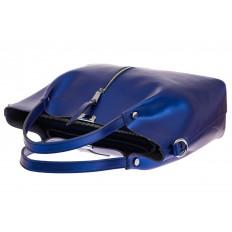 На фото 3 - Сумка шоппер из натуральной кожи, цвет синий