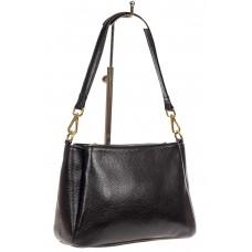 На фото 1 - Кожаная женская сумочка на плечо, цвет черный