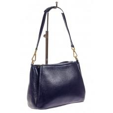На фото 1 - Кожаная женская сумочка на плечо, цвет синий