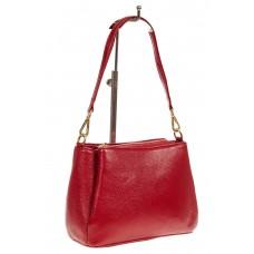 На фото 1 - Кожаная женская сумочка на плечо, цвет красный