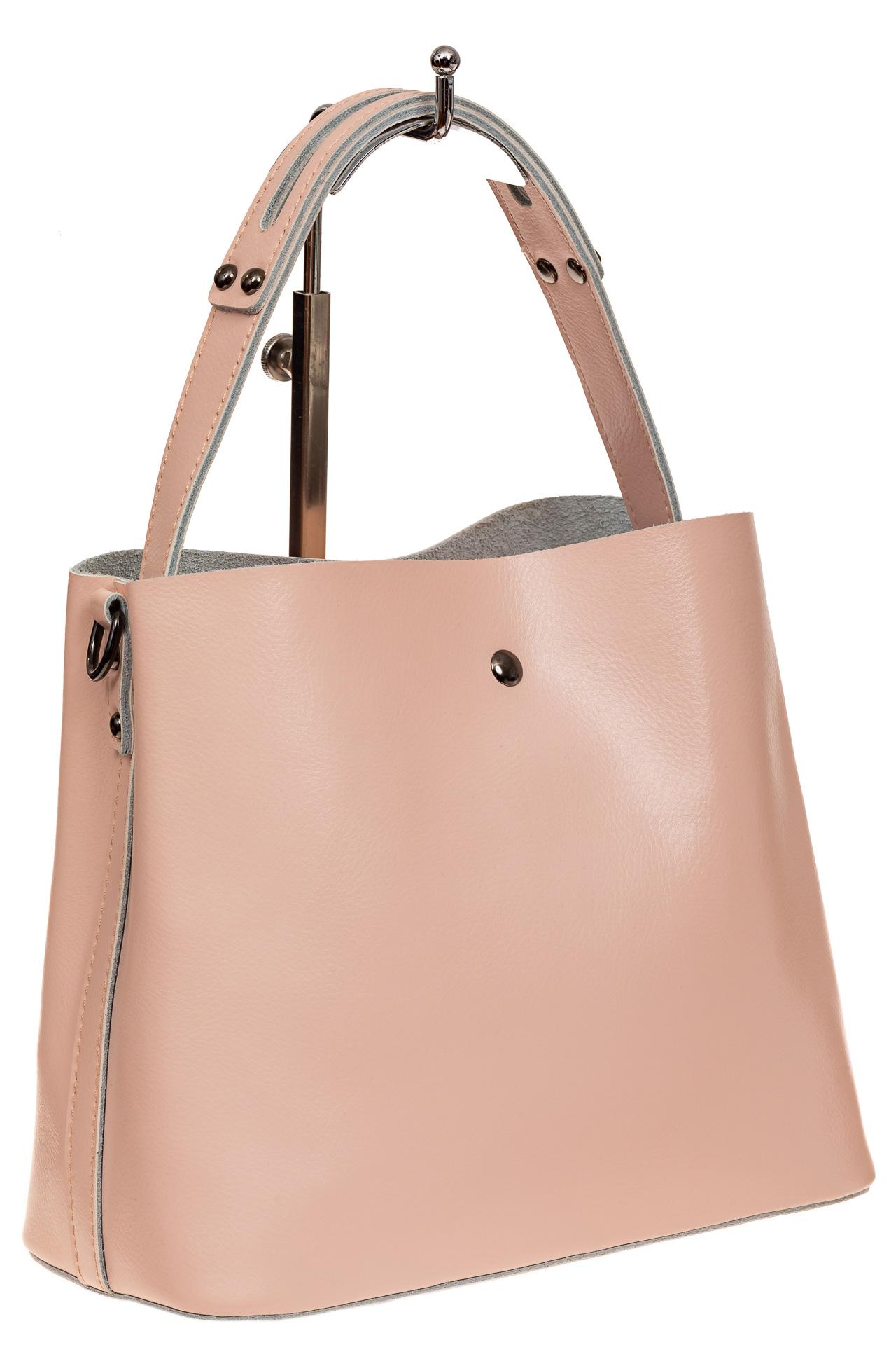 На фото 1 - Женская сумка шоппер из натуральной кожи, цвет розовый