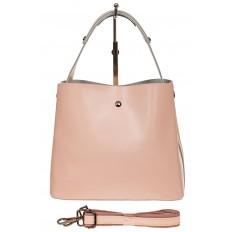 На фото 2 - Женская сумка шоппер из натуральной кожи, цвет розовый