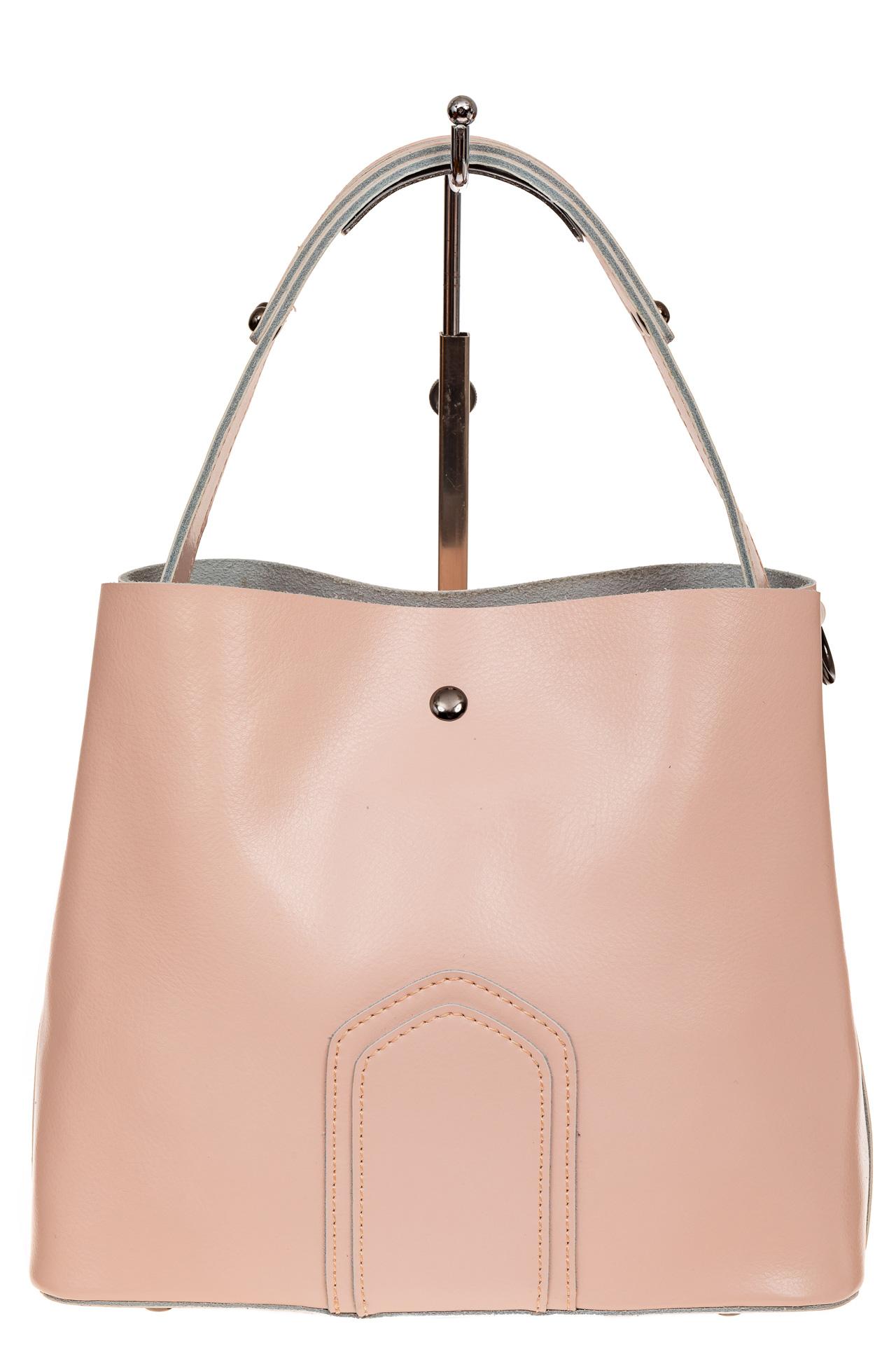 На фото 3 - Женская сумка шоппер из натуральной кожи, цвет розовый