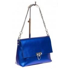 На фото 1 - Женская сумка кросс-боди из натуральной кожи, цвет синий