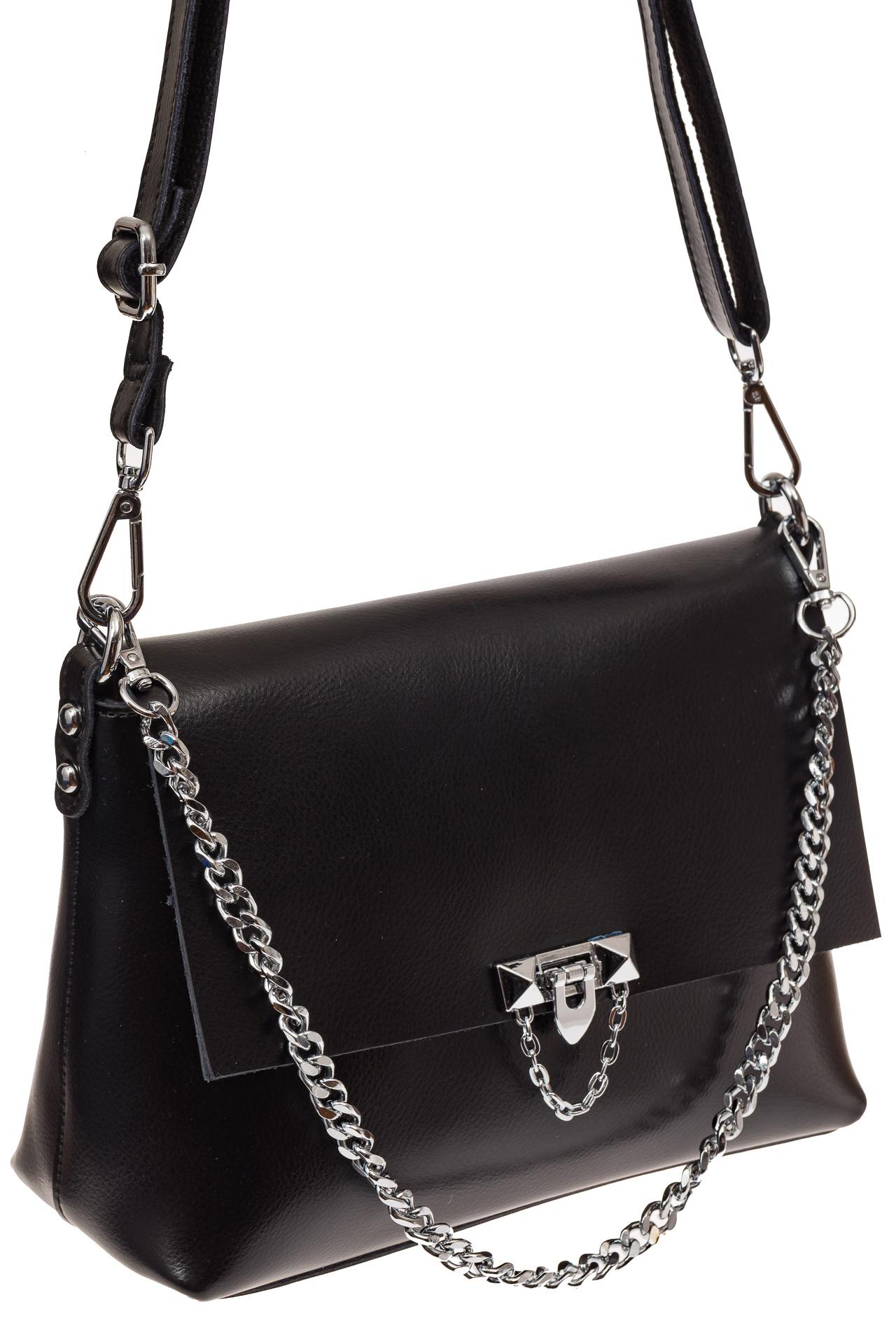 На фото 1 - Женская сумка кросс-боди из натуральной кожи, цвет черный