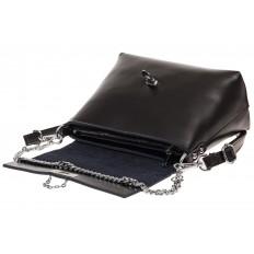 На фото 3 - Женская сумка кросс-боди из натуральной кожи, цвет черный