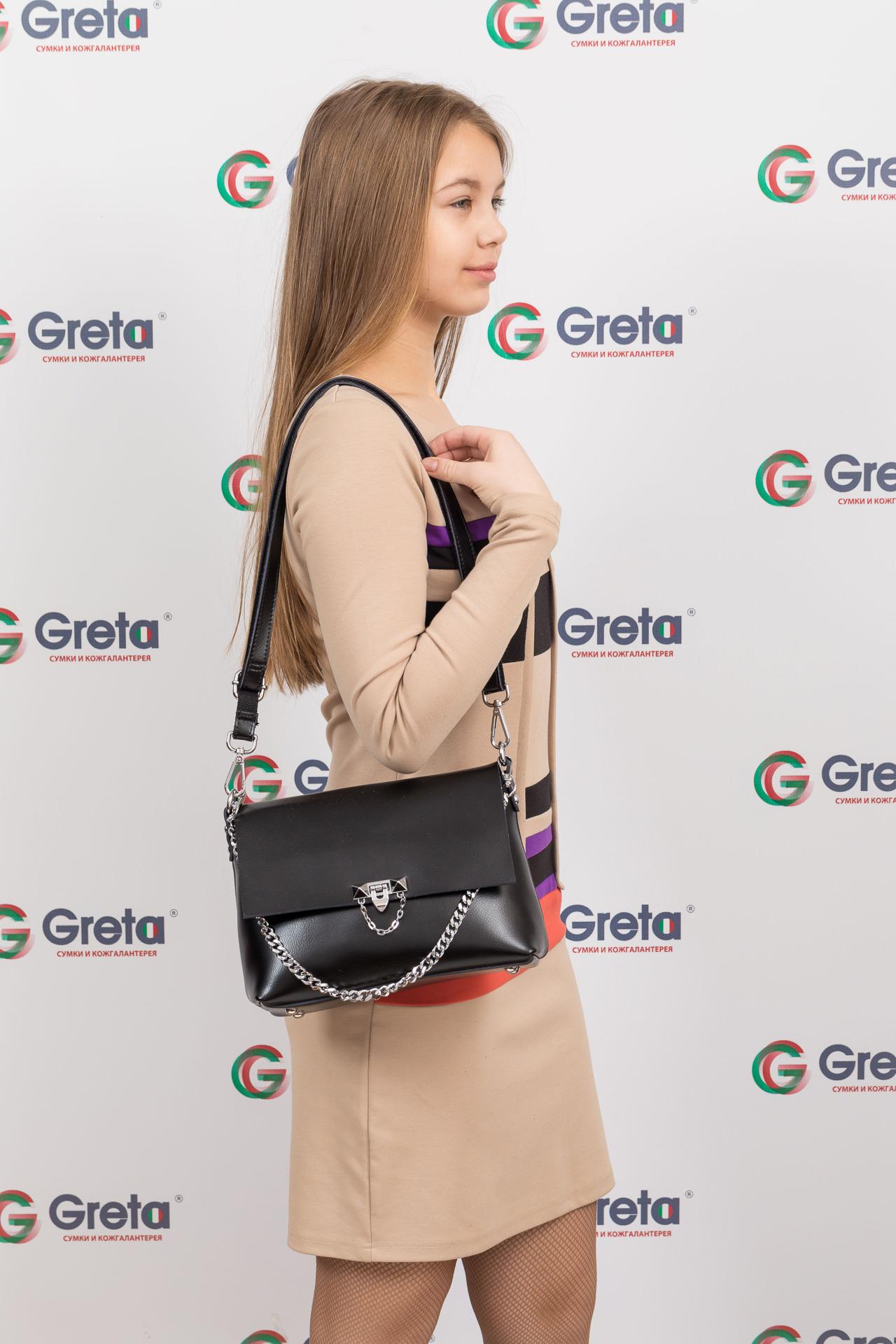 На фото 4 - Женская сумка кросс-боди из натуральной кожи, цвет черный