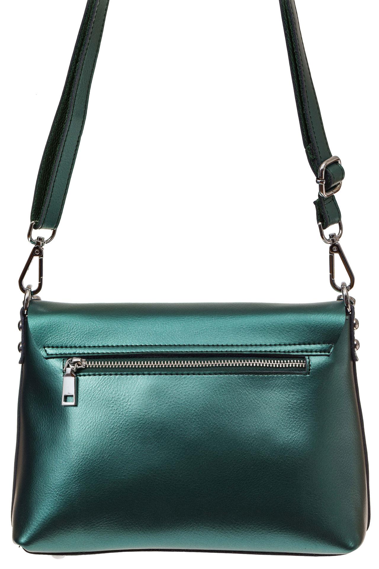 На фото 2 - Женская сумка кросс-боди из натуральной кожи, цвет зеленый