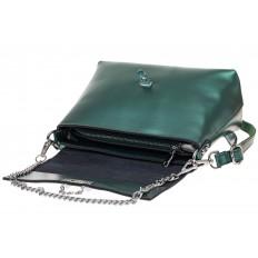 На фото 3 - Женская сумка кросс-боди из натуральной кожи, цвет зеленый