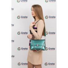 На фото 4 - Женская сумка кросс-боди из натуральной кожи, цвет зеленый