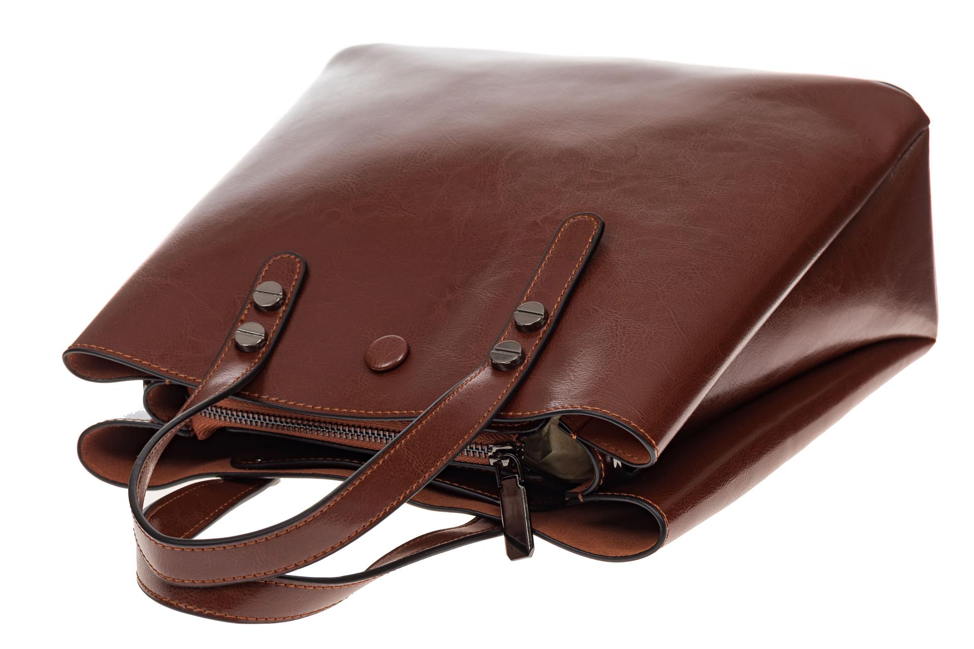 На фото 4 - Сумка тоут из натуральной кожи, цвет коричневый