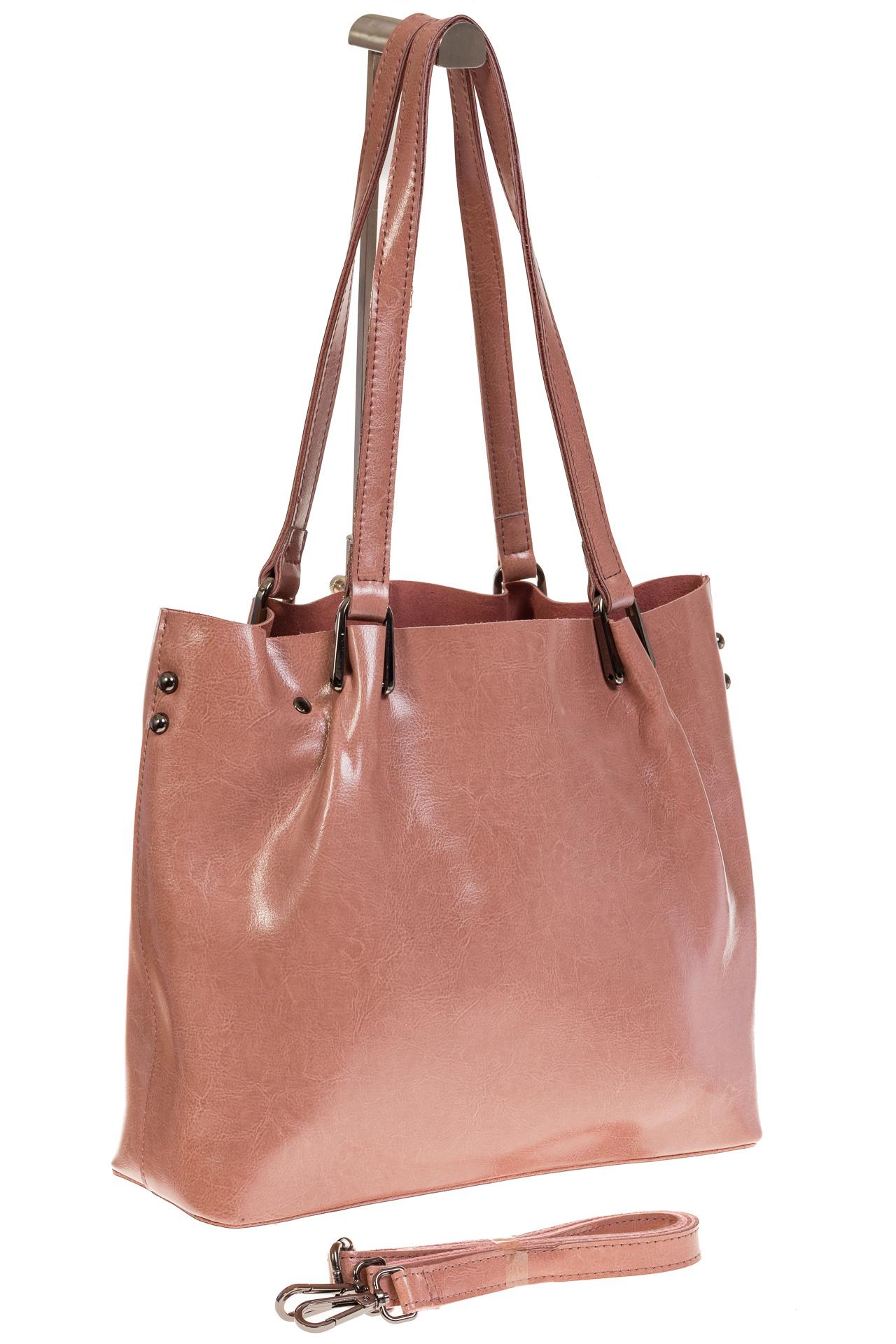 На фото 1 - Женский шоппер из натуральной кожи в цвете розовый