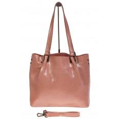 На фото 2 - Женский шоппер из натуральной кожи в цвете розовый
