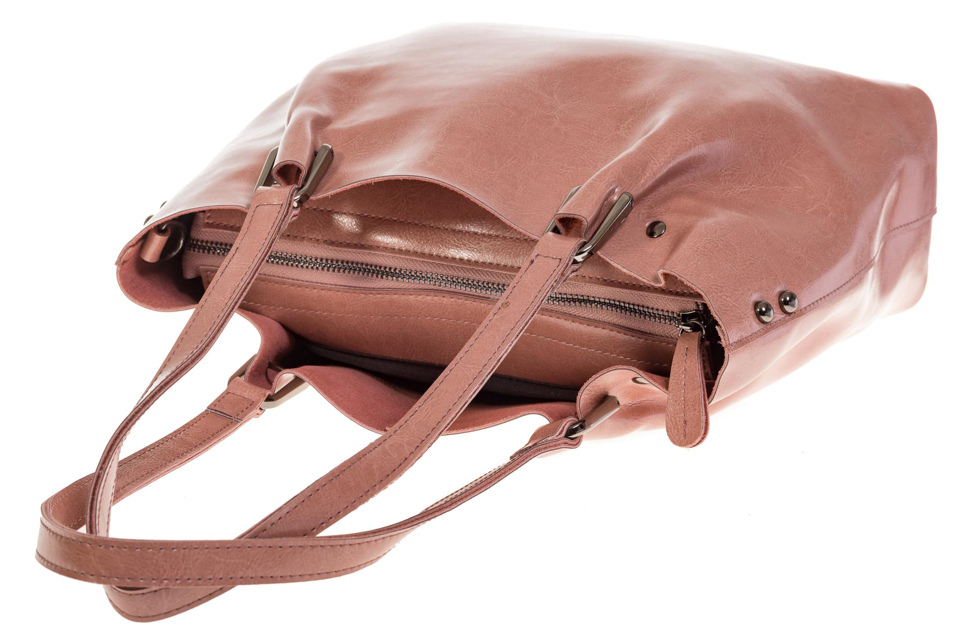 На фото 4 - Женский шоппер из натуральной кожи в цвете розовый