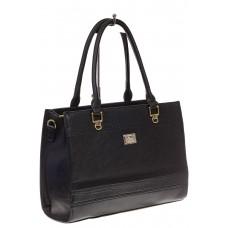 На фото 1 - Женская сумка из искусственной кожи, цвет черный