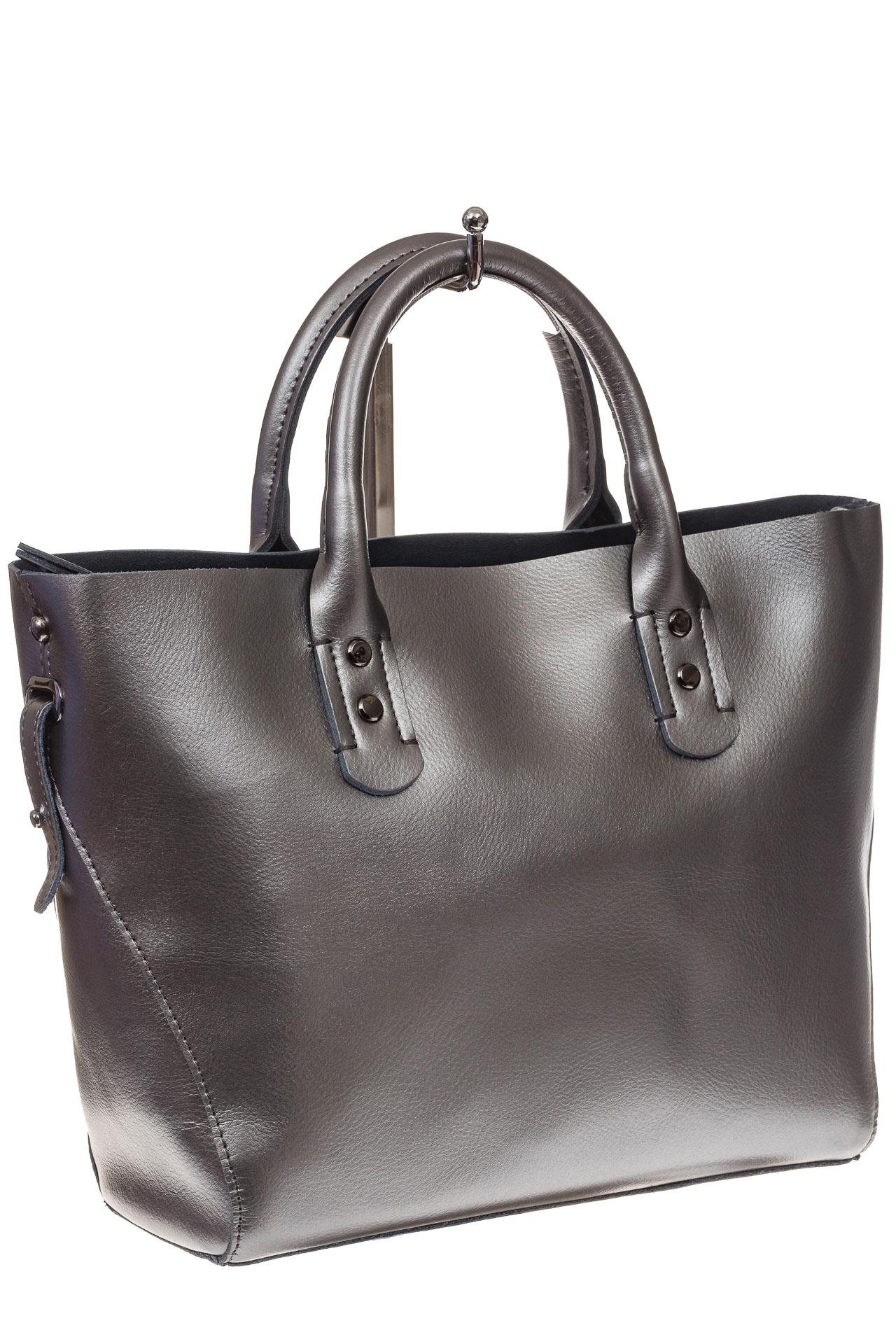 На фото 1 - Женская сумка шоппер из натуральной кожи, цвет серебро