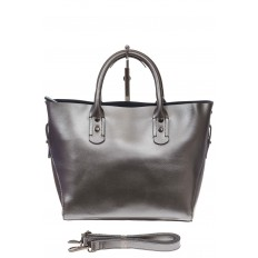 На фото 2 - Женская сумка шоппер из натуральной кожи, цвет серебро