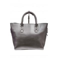 На фото 3 - Женская сумка шоппер из натуральной кожи, цвет серебро
