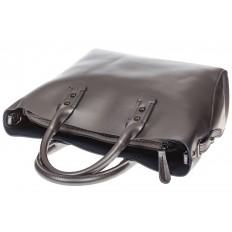 На фото 4 - Женская сумка шоппер из натуральной кожи, цвет серебро