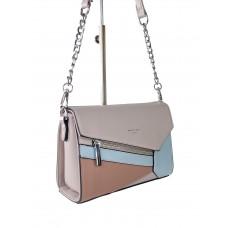 На фото 1 - Женская сумка кросс-боди из экокожи с разноцветными вставками, цвет пудра