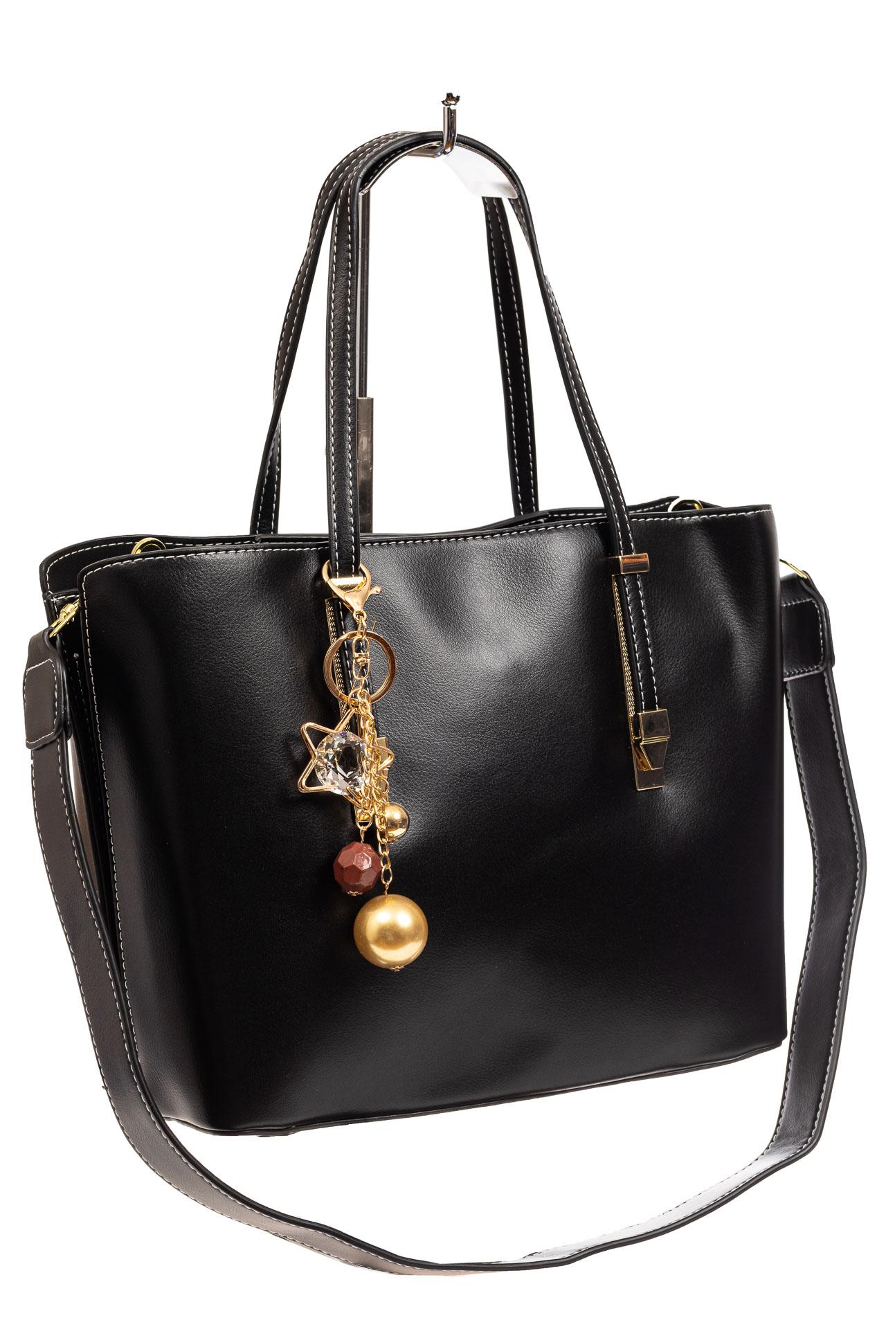 Женская сумка тоут из искусственной кожи, цвет черный8670PJ0520/1