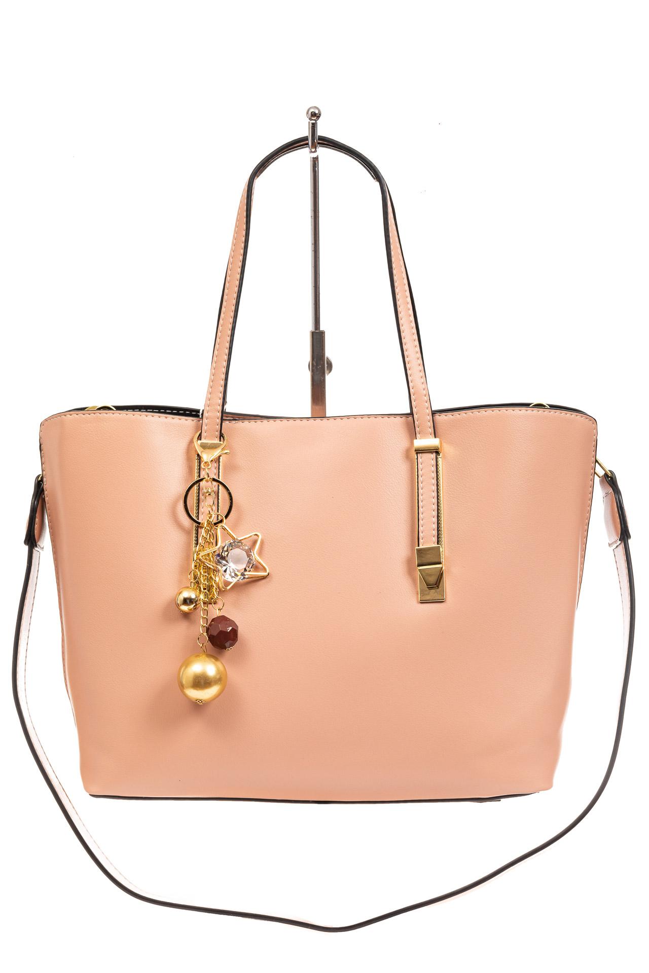 На фото 2 - Женская сумка тоут из искусственной кожи, цвет розовый