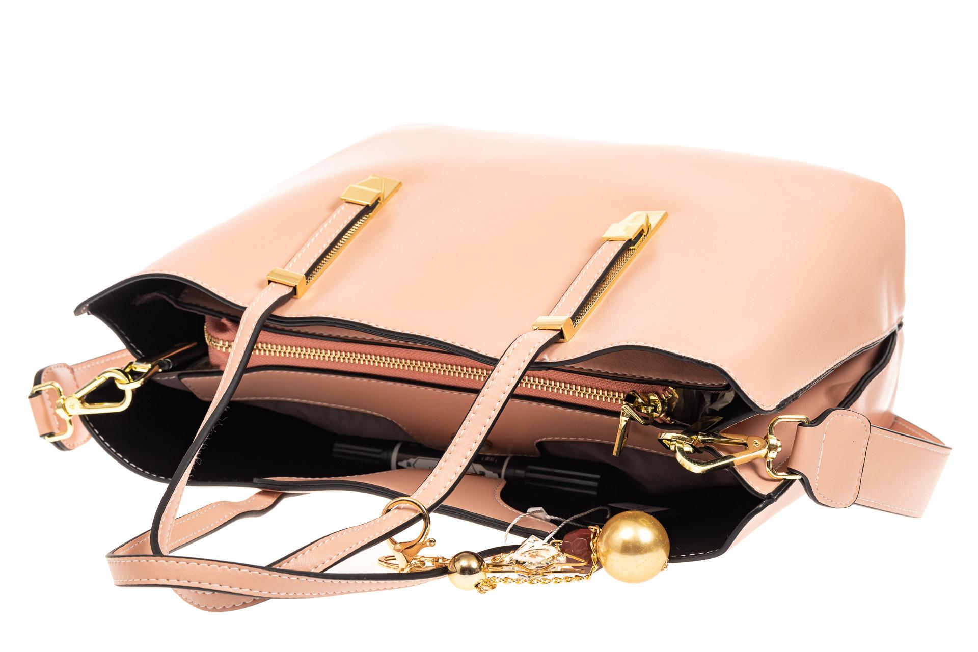 На фото 4 - Женская сумка тоут из искусственной кожи, цвет розовый