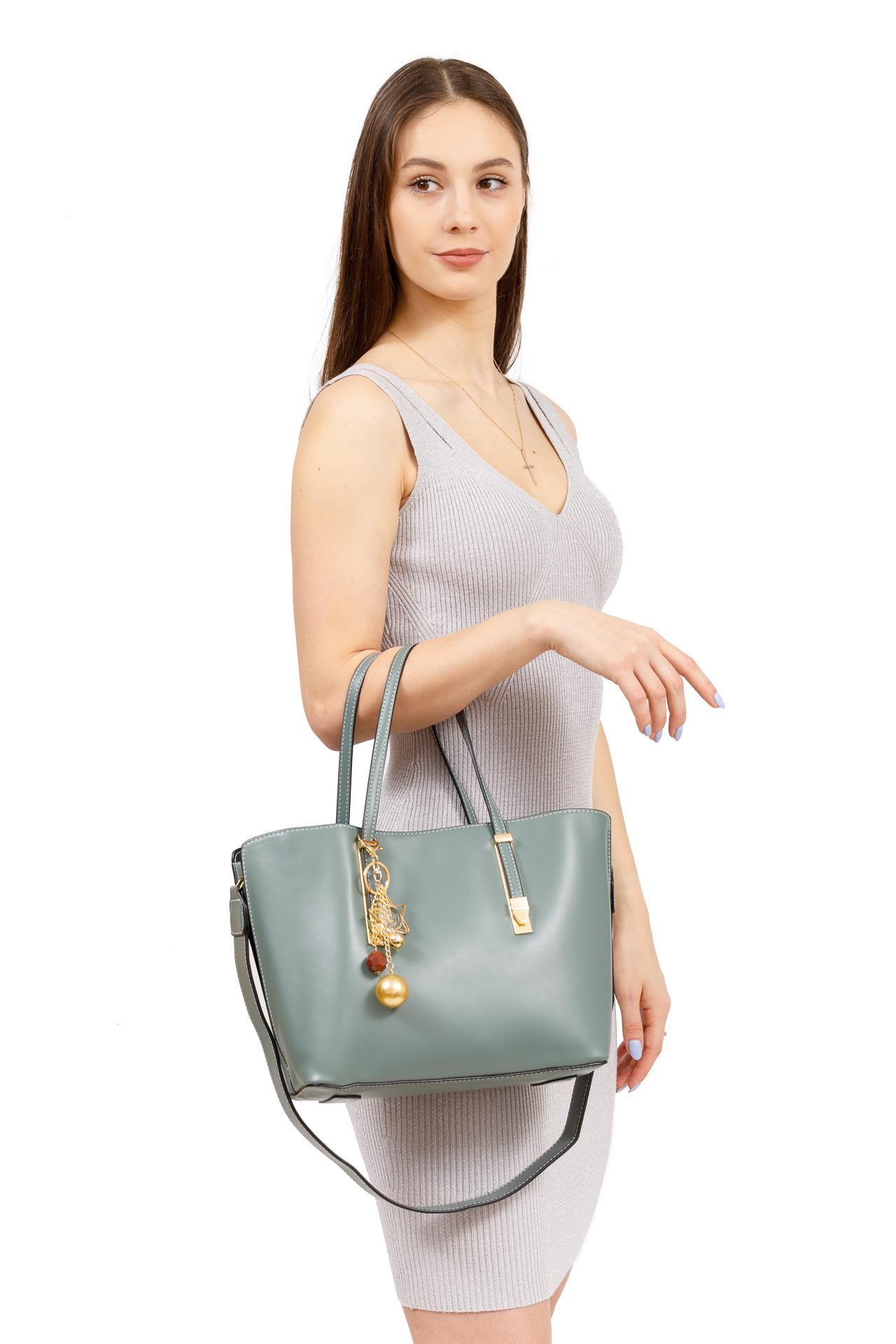 На фото 5 - Женская сумка тоут из искусственной кожи, цвет розовый