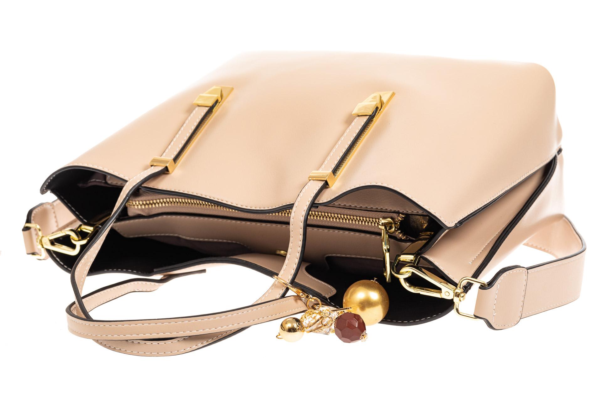 На фото 4 - Женская сумка тоут из искусственной кожи, цвет молочный