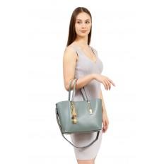 На фото 5 - Женская сумка тоут из искусственной кожи, цвет молочный