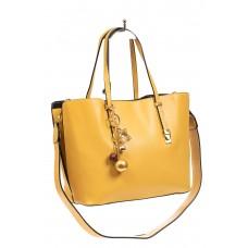 На фото 1 - Женская сумка тоут из искусственной кожи, цвет желтый