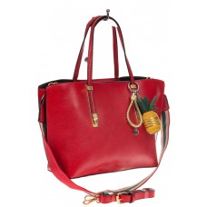 На фото 1 - Модный шоппер из искусственной кожи, цвет красный