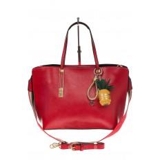 На фото 2 - Модный шоппер из искусственной кожи, цвет красный