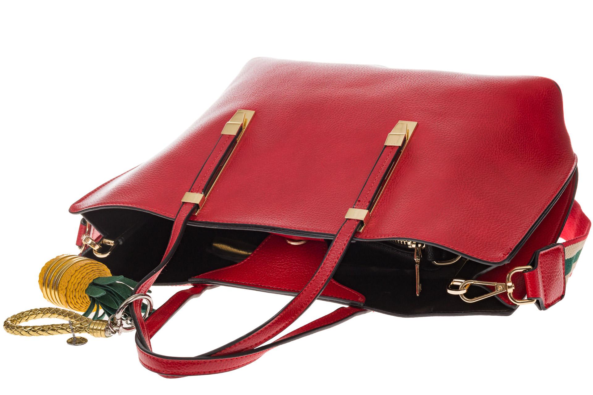 На фото 4 - Модный шоппер из искусственной кожи, цвет красный
