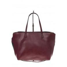 На фото 3 - Модный шоппер из искусственной кожи, цвет бордовый
