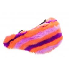 На фото 1 - Сумка на пояс женская из искусственного меха, цвет оранжево-розовый