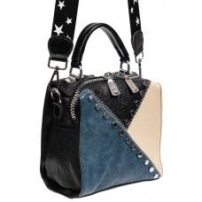 На фото 1 - Квадратная сумка-рюкзак из искусственной кожи, цвет голубой